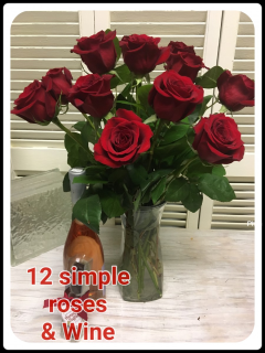 1 dozen red roses & wine