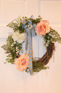 Peach rose silk wreath