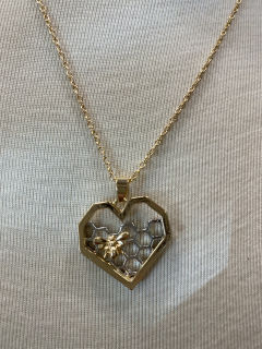 Honey comb heart necklace