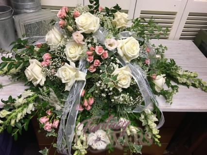 Soft pink & white Casket Spray