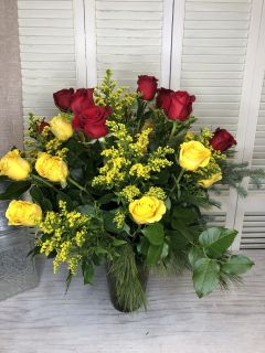 24 red and yellow roses