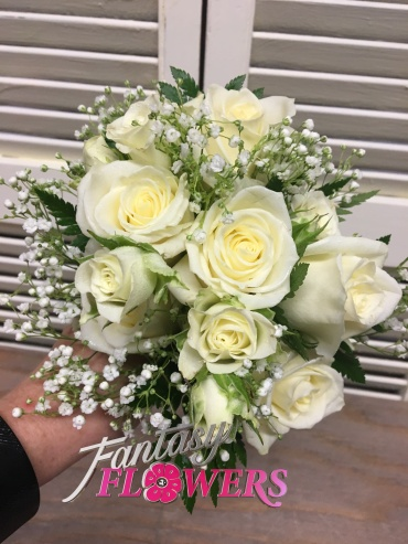 White roses and lacy babies breath bouquet