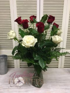 12 red and white roses